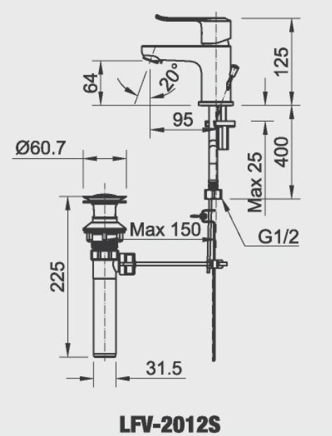Bản vẽ kỹ thuật vòi lavabo nóng lạnh INAX LFV-2012S