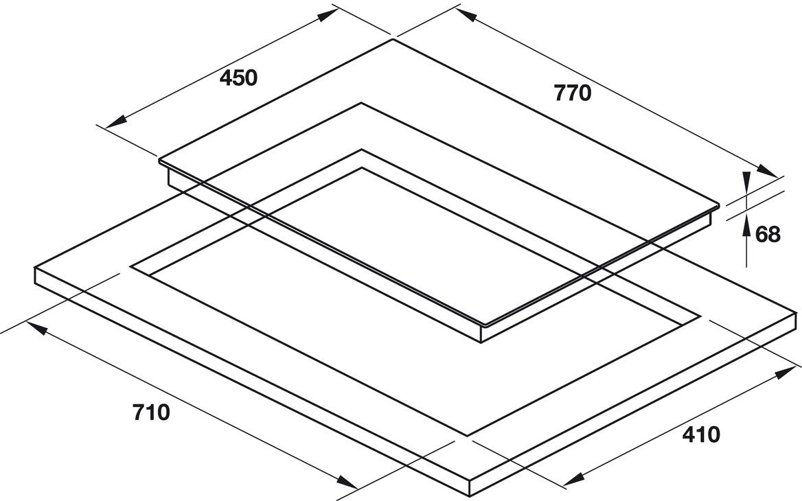 Bản vẽ bếp điện từ kết hợp HC-M773D 536.61.705 Hafele 3 vùng nấu