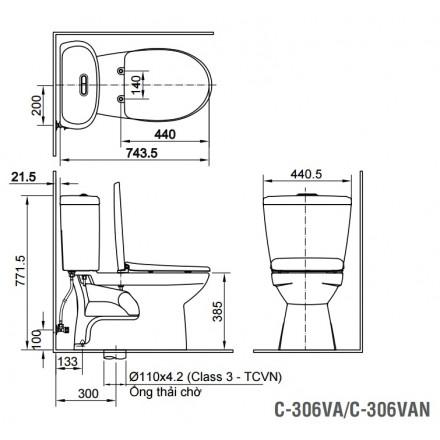 Bản vẽ bồn cầu Inax C-306VAN - Xí bệt bàn cầu vệ sinh 2 khối nắp êm