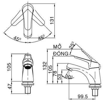 Bản vẽ kỹ thuật vòi lạnh inax LFV-20SP