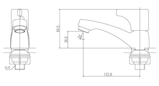 Bản vẽ kỹ thuật vòi lạnh Inax LFV-13B