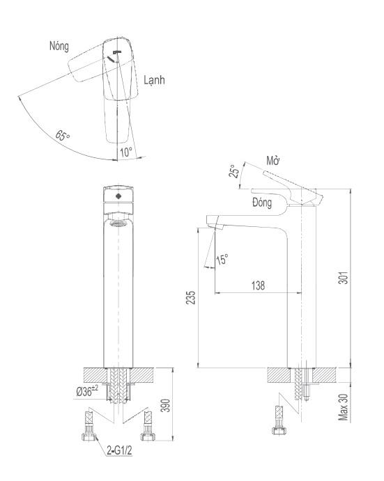Bản vẽ kỹ thuật vòi lạnh inax LFV-5000SH